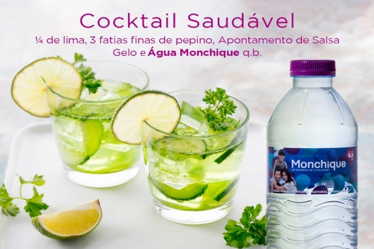 Cocktail de lima, pepino e Água Monchique